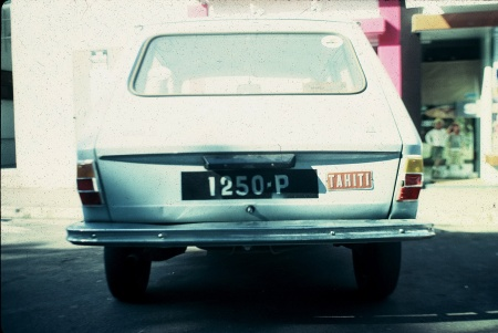 1250-P seen in Antibes during the 1980s, displaying the TAHITI alloy label often used when travelling abroad.     Brumby archive.