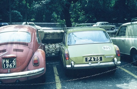 1972 photo of an Austin 1300 in London, from Barbados, where P codes the parish of St. Philip.