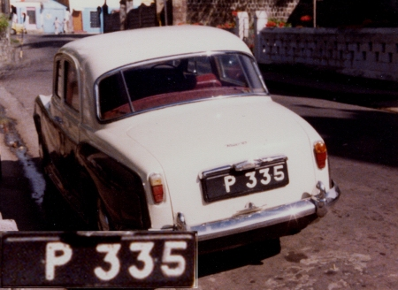 St. Kitts & Nevis went on to P and numbers, when it had exhausted its original CN prefix (Christopher & Nevis)   1980 picture by Vic Brumby on St. Kitts.