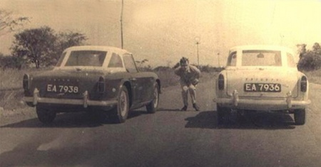 Contemporary Lusaka motor-sportsmen with their Triumph TR4s on EA (Lusaka) plates.