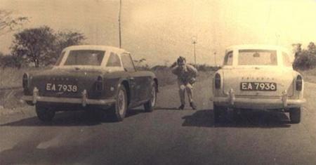 Contemporary Lusaka motor-sportsmen with their Triumph TR4s on EA (Lusaka) plates.
