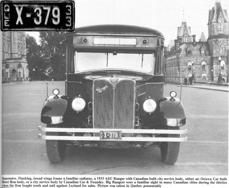 AEC Coach Dealer plate in 1933 Quebec.