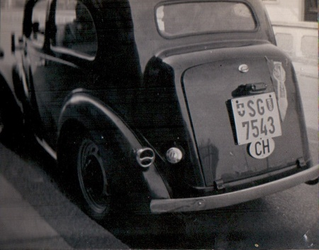 British Ford Eight - noisy, slow and bumpy.