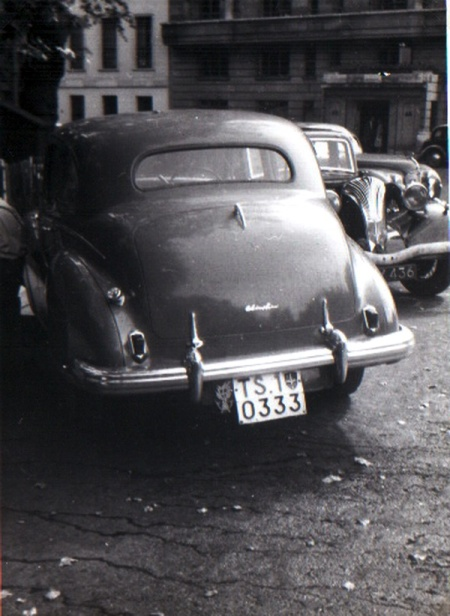 Trieste international zone seen in Britain c. 1950.  Austin A70 reg. TS 10333.