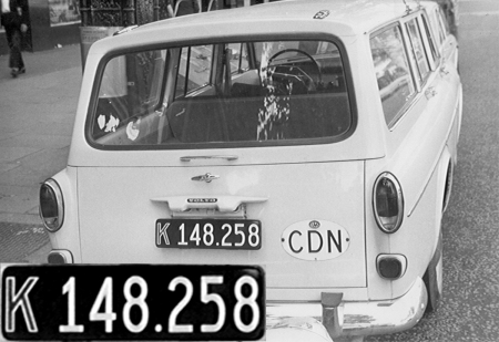 A  Danish export Volvo 245 destined for Canada, seen in London 1964.   Brumby archive