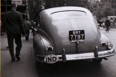 A rare sight indeed, then and now - India plates in Britain, circa 1948, on an American 'tank'.    Pemberton archive