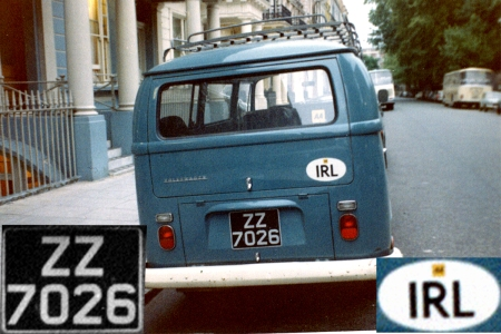 ZZ allocated to new cars of any make, bought in Ireland for export, was an unusual and uncommon issue.   London 1969.   Brumby archive