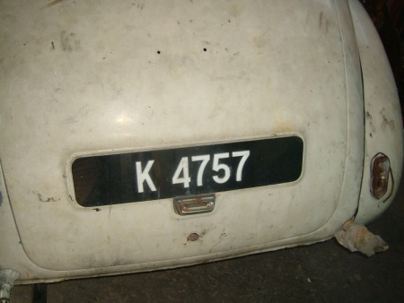 K - Kedah state, on a Morris Minor.