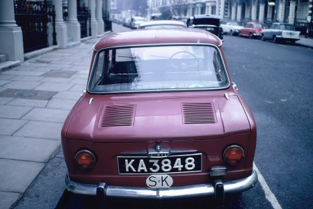 The only Sarawak plate ever seen in England by VWB, this Simca 1100 was from Kuching district in 1965 London.     Brumby archive