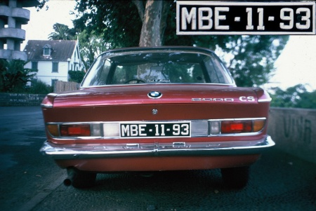 This BMW 3.0 SCi was captured on Madeira in 1978.  MBE 11-93 was coded B for Beira, the second city and a popular holiday place before independence in 1975.