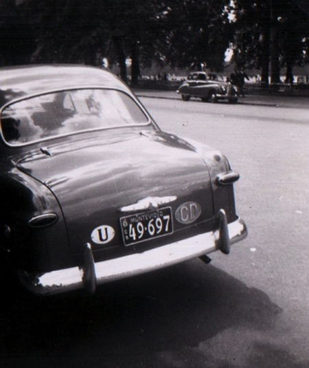 A diplomat back from Montevideo, seen in Hyde Paek circa 1952, on a Simca Aronde.