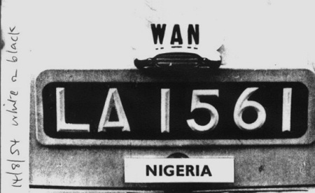 LA 1561 is an early 1950s Lagos registration, shot by member Reg Wilson in Britain in 1954.    Rover 60.   Wilson archive