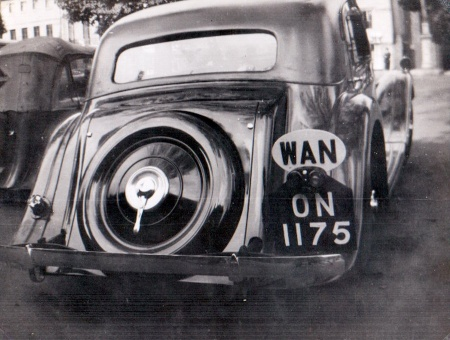 Nigerian reg. ON 1175 is  from Onitsha, seen in the 1940s in Oxford, on an unidentified car.  Pemberton archive