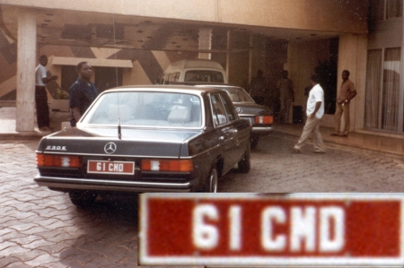 61 CMD was an ambassador's plate, possibly for Hungary, and taken during the 1970s in Abuja by Murray Bailey.
