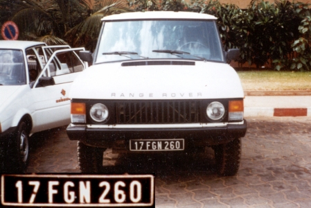 A Federal Government plate of the 1970s on a Range Rover, in Lagos.Brumby archive