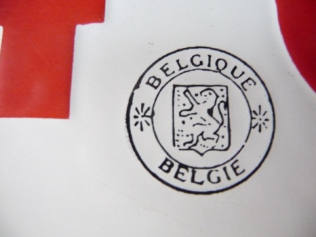 Belgium's 1925-63 national seal borne on the rear, official plate.     Brumby archive