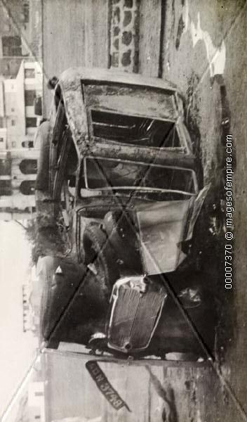 car 3758 lies in ruins after a local spat, circa 1951