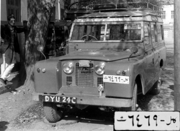 Kabul Taxi 6469 which had driven from Oman via London to Kabul to become Kabul's toughest taxi.    Brumby archive.