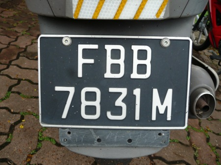 The current motorcycle format now uses two serial letters, the leading F, designating 2-wheelers.    Brumby archive