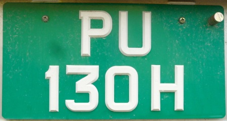 PU 130 H is just seven off the highest number on Pulau Ubin, the. latest minibus being PU 137.      Note that all the plates are properly made, even though this island is quite primitive.... Brumby archive