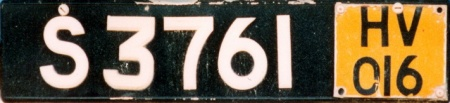 Taxis carried normal plates, supplemented by this specially-manufactured Hire Vehicle plate with its unique authorising number.     Brumby archive