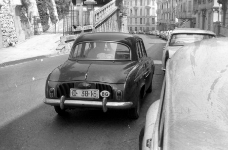 White plates were issued to privileged Party members in pre-democratic Bulgaria.    This fortunate citizen had a modern car and was allowed a passport to travel to Monte Carlo, where this picture was taken