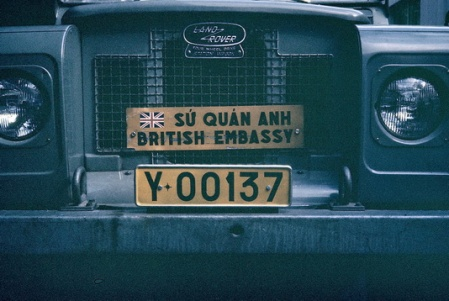 Here another GB embassy plate, this time on a Land Rover in Saigon, 1970s.  Brumby archive