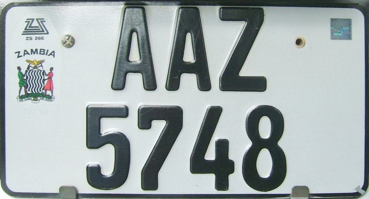 From 2000, Zambian plates are long or square and use LLL NNNN format with a national symbol. Like many countries, their plate system is designed and implemented by a German specialist company, Utsch.