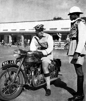 NRG was the code for the Northern Rhodesian Government and this is a rare, surviving picture of a Triumph police motorcycle. (Anon)