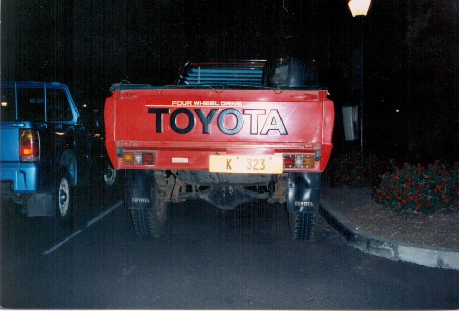For a fee, or if you know Someone, It is possible to request an old registration to be re-issued; this Toyota pick-up is seen in South Africa in the 1980s. K had been the first letter used in Lusaka, in the late 1920s and early '30s. Nirther the font nor the colours are correct for the earlier period, however. Brumby archive.