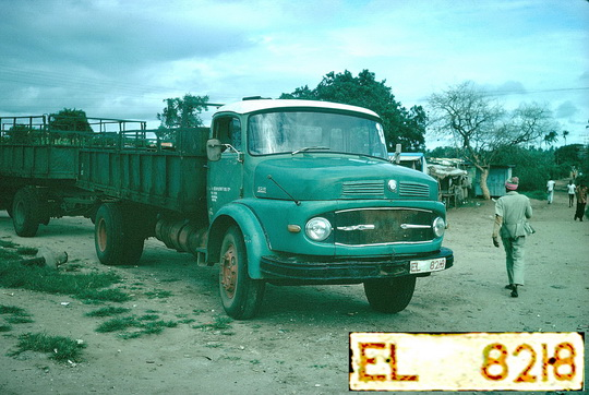 Zambian commercial vehicles used red on white plates, as this Mercedes truck photo'd in Nairobi in the 1970s. Brumby archive