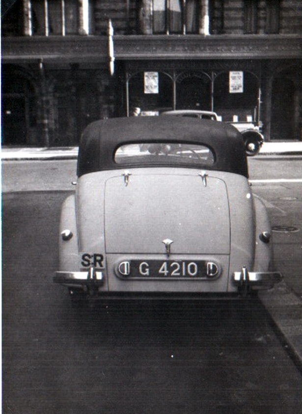 G 4210 is another Riley RM from Gwelo, seen in London in the 1960s. From th3 1928-1080 series. Brumby archive