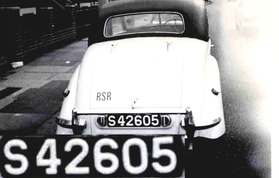 S 42605 (RSR). A few Rhodesian cars visited Britain until the 1970s and this Riley RM 1.5 litre was photgraphed in Earls Court, London, in 1960, wearing the RSR oval which had replaced the original SR. Brumby archive