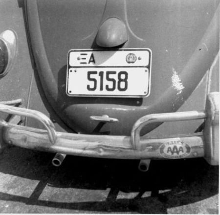 Greece, in common with a few other countries, marked the cars which belonged to foreigners coming to live in Greece for more than just a short holiday.     The Greek letter 'X' abbreviated 'Xenos' (alien/ foreigner/outsider/qafir) and the A was the regional identifier for Athens.   This black-on-white series was issued between 1963 and 69.    XA/5158, and no dating shown on this series.