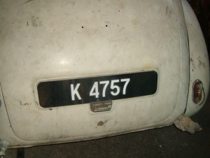 K 4757, unfortunately without a FM or PTM oval, is from Kedah state in Peninsular Malaya, borne by a Morris Minor.   VB archive