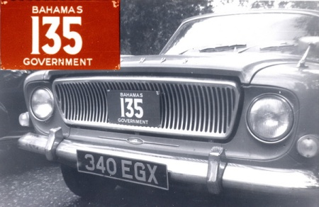 The first Government plates were seen in 1960s London.   The new Ford Zephyr Mk 3 was GB-registered 340 EGX under the Home-Delivery Export Scheme, which allowed for collection ex-factory, a period of use in Europe & Britain, then a shipment to the country of purchase.         Brumby archive 1960s.