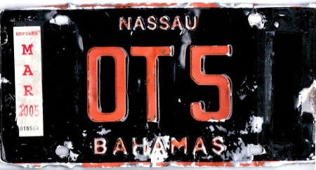 This obsolete Dealer plate from the 1976-97 colour series, was for sale in a fleamarket in Nassau.    Brumby archive 2015