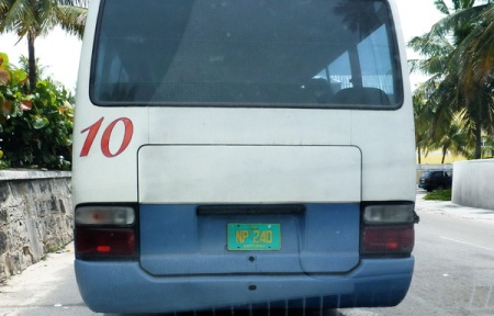 Town buses on regular routes in New Providence (Route Buses) use yellow-on-turquoise plates.      Brumby archive 2015.