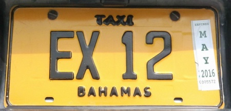 The Exuma Cays which have motors, use the code EX  to show their origin.and use the standard black-on-yellow given to all public taxis in the archipelago.