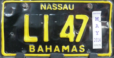 Limousines with uniformed drivers have long had their own 'Livery' plates in the Bahamas.   Currently two types exist, both in yellow-on-black, the LI version seeming to be the most recent.     Brumby archive 2015