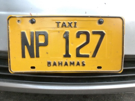 NP 127  --  Nassau, capital of the Bahamas, uses the code of its island, New Providence, to code its taxi plates.    Brumby archive 2015