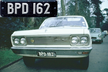 A  Vauxhall Cresta BPD 162, seen in GB during 1969, carries the BP-prefixed white-on-black plates which ran from (possibly)1937-1967, when black-on-yellow    was introduced.   This Hillman Avenger was phot'd in London  in 1969.    Brumby archive