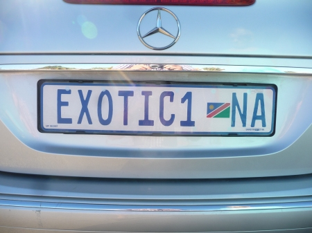EXOTIC 1 NA, the first-noted Namibian vanity plate.