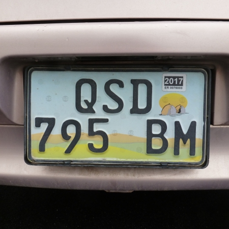 A normal current Swazi plate type commencing 2010, in which Q 795 B is the registration, SD the country i/d and M codes Manzini district.            Brumby archive 2015