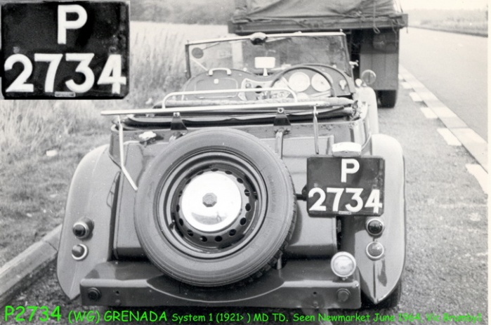 P 2734 was a rare Grenada (WG) plate seen by EU 038 on this MG TD near Newmarket in April 1969 , and (without photo) noted by EU 083 in July 1969.